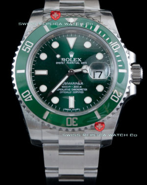 Swiss Replica Rolex Submariner SS Green Ceramic