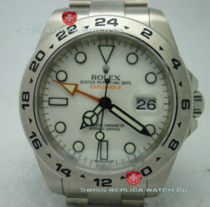 Swiss Replica Rolex Explorer II SS White