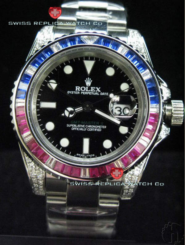 Swiss Replica Rolex GMT-Master II Blue-Red Ruby SS