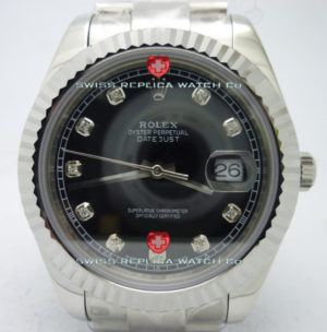 Replica Rolex Datejust SS Black Diamonds