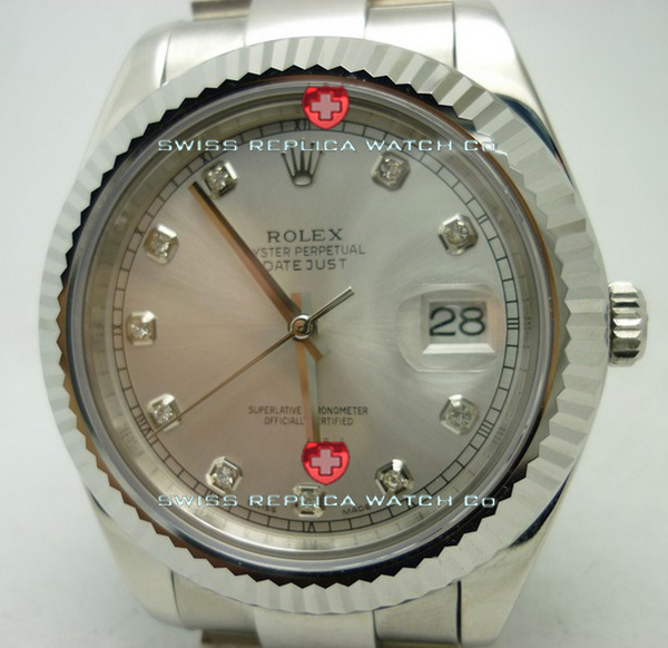 Replica Rolex Datejust SS Silver Diamonds
