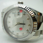 Swiss Replica Rolex Datejust SS Silver Diamonds