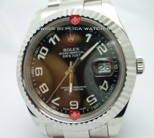 Replica Rolex Datejust SS Black Arabic