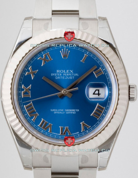Replica Rolex Datejust SS Blue Roman