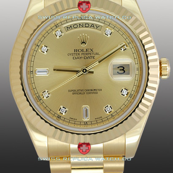 Replica Rolex Day-Date Gold Gold Diamonds