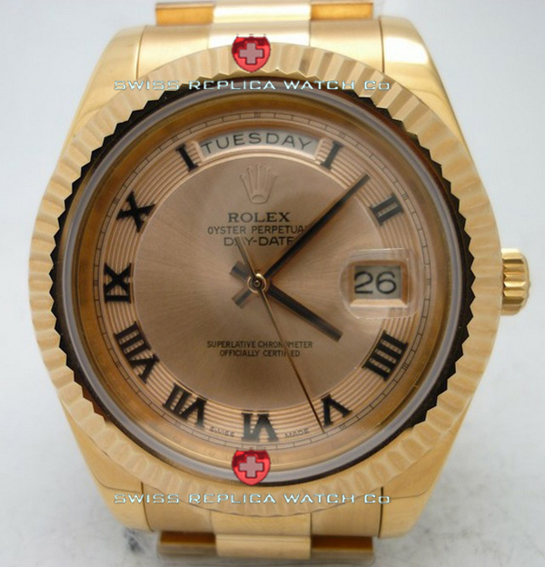 Replica Rolex Day-Date Rose Gold Gold Roman