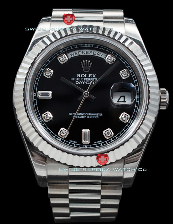 Replica Rolex Day-Date SS Black Diamonds