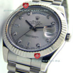 Replica Rolex Day-Date SS Silver Diamonds