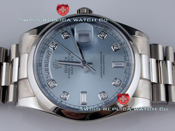 Replica Rolex Day-Date SS Blue Diamonds