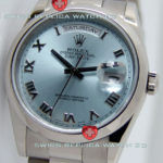 Replica White Gold Day-Date II Light Blue Roman Numeral Dial
