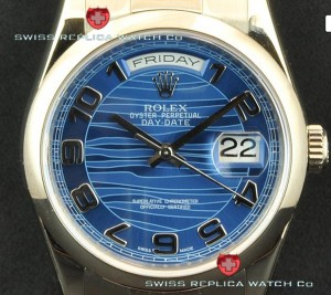 Replica Rolex Day-Date SS Blue Wave